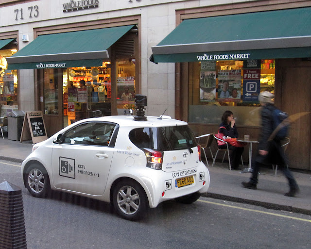 City of Westminster CCTV Enforcement Car in Brewer Street, Soho on 2 March 2011. Snapshot from inside a Caffe Nero.