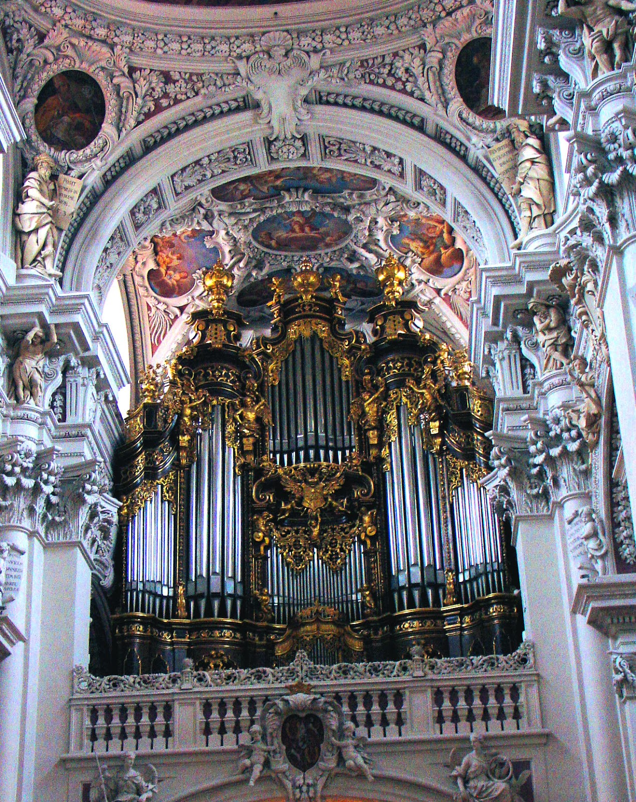The world's largest cathedral organ awaits visitors inside St. Stephan's Cathedral in Passau, Germany.
