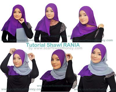 Cara Memakai Jilbab Shawl Rania 1