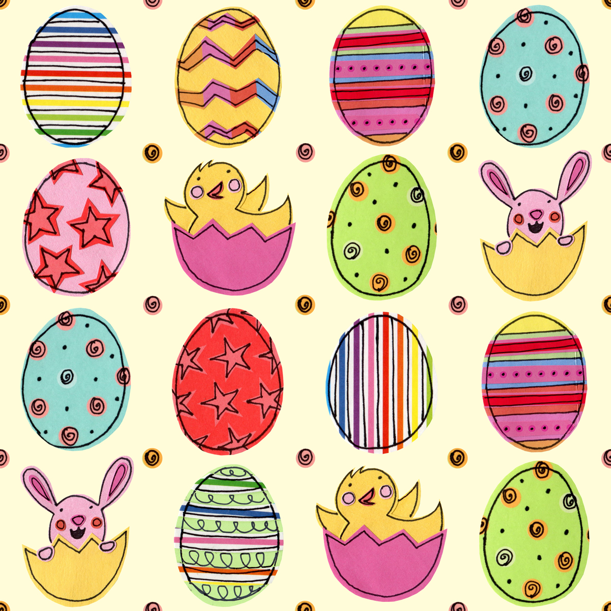 Bird Meets Worm Happy Easter Eggs Repeat Pattern