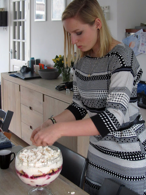 my niece Katie decorating the trifle