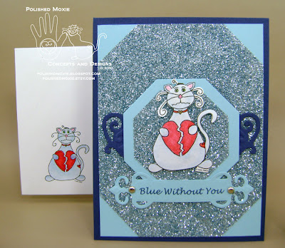 My handmade missing you cat card in blue and its coordinating handmade envelope.