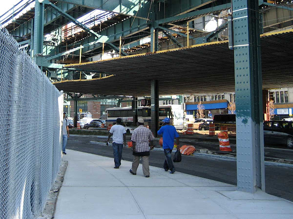 Sliced Queens Plaza - During construction, when they painted over the formerly pink structure.