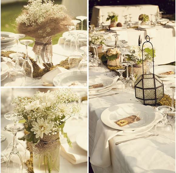 The burlap moss baby 39s breath mason jars the simplicity and beauty of it