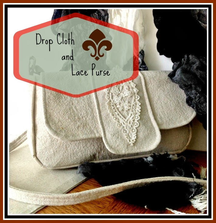 Drop Cloth and Lace Purse - purse made from drop cloth fabric and embellished with a lace medallion