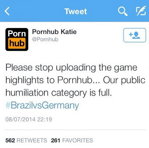 Pornhub, Twitter, funny, memes, Brazil, Germany, 7-1, World Cup 2014, funny
