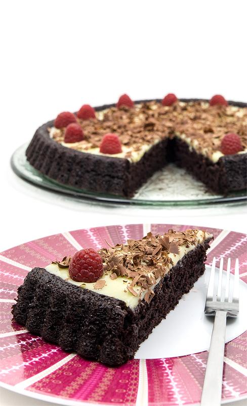 Triple chocolate cake raspberry one piece back