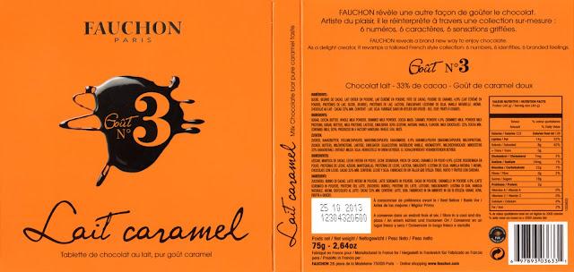 tablette de chocolat lait dégustation fauchon goût n° 3 lait caramel