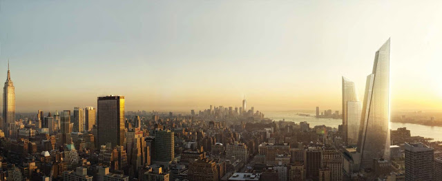 Photo of new towers at sunset with lower Manhattan skyline in the distance
