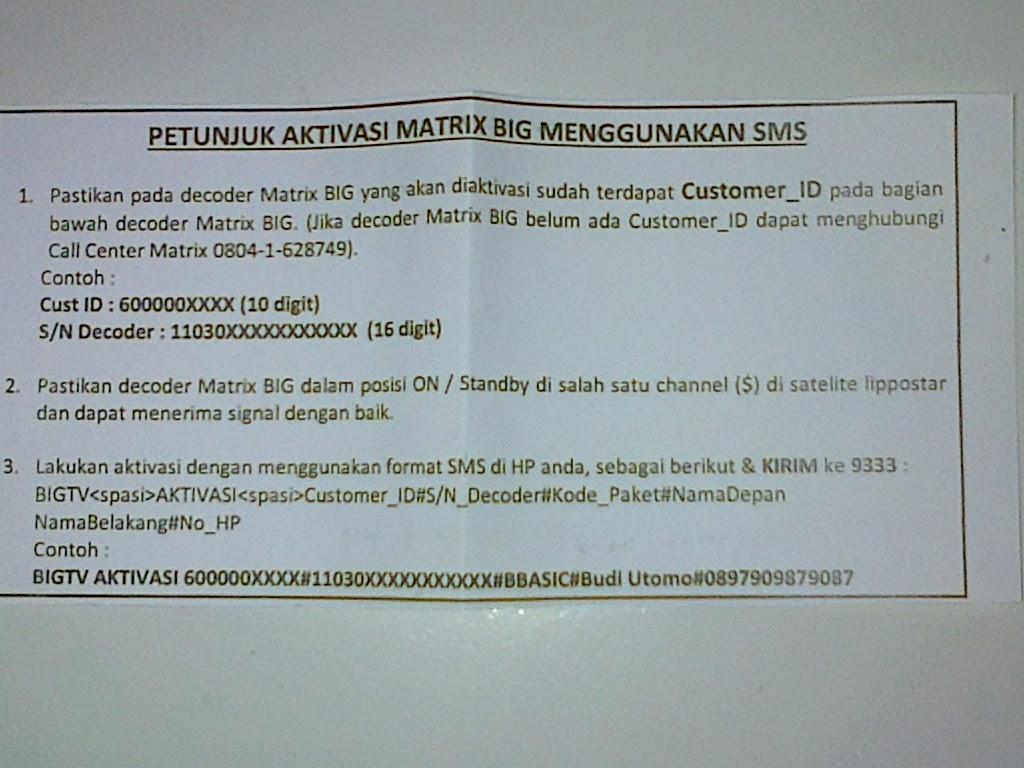 aktivasi receiver matrix big tv
