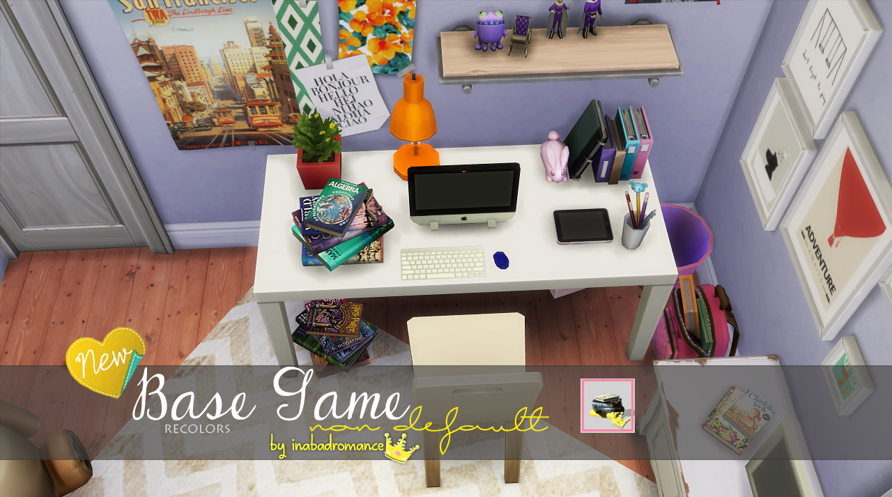 My sims 4 blog base game book recolors by inabadromance for Decoration maison sims 4