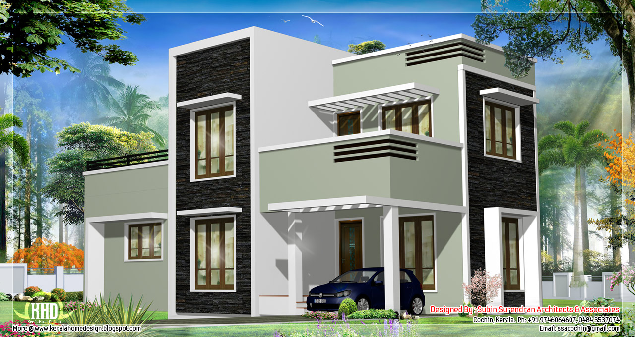 Attractive 1278 Sq.feet Kerala Flat Roof Home Design House Design Plans