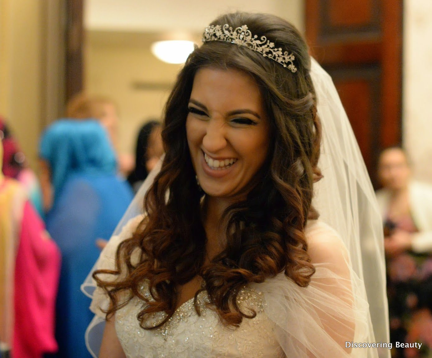 smiling bride happy wedding hair tiara