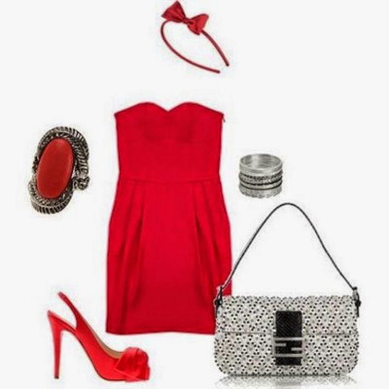 Vestidos rojos con accesorios plata