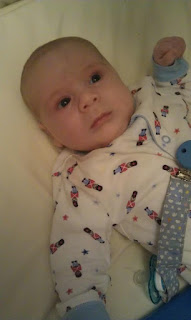8 week old baby boy, 8 week old baby, soldier pyjamas, www.emmysmummy.com