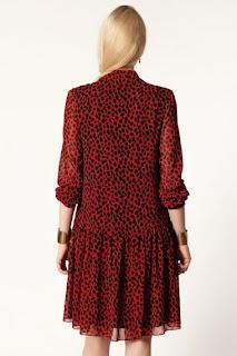 kırmızı siyah elbise modeli, fırfırlı elbise