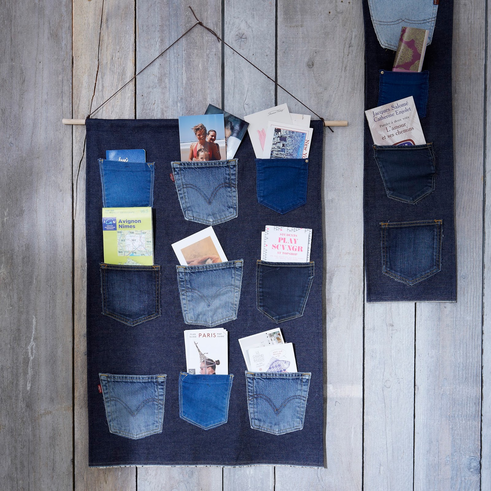 decolau un diy super simple faire et tellement beau sur le mur le vide poches en jean. Black Bedroom Furniture Sets. Home Design Ideas