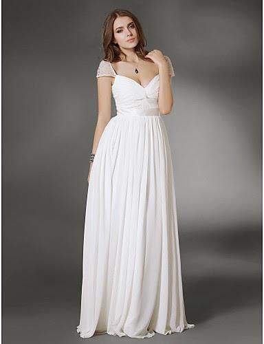 vestido largo de noche blanco de gasa