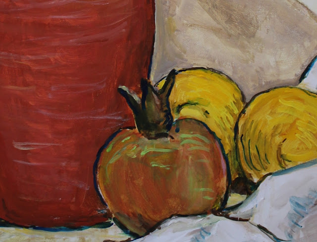 art, painting, still-life, natura morte, sarah, myers, arte, pintura, pitcher, red, fruit, lemons, pomegranate, ceramic, amy, myers, modern, contemporary, large, kunst, acrylic, canvas, yellow, table, interior, detail, closeup, food