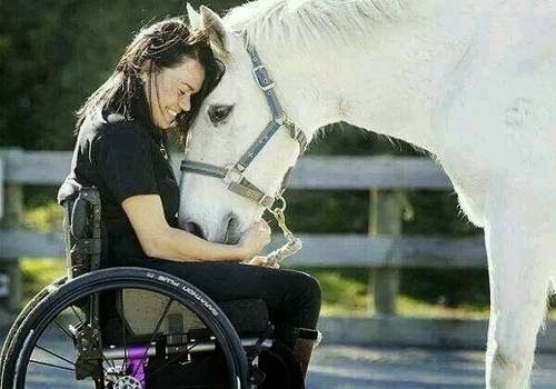 Woman in wheelchair hugging a horse, her head rested on horse's head