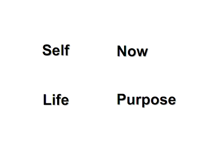 religion of self + now = life. purpose gives meaning.