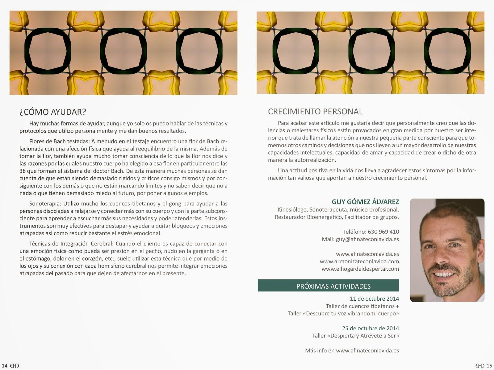 artículo EHD magazine, Guy gómez Kinesiología Madrid, Las emociones y los síntomas, disociación, crecimiento personal, relación emociones y síntomas físicos,