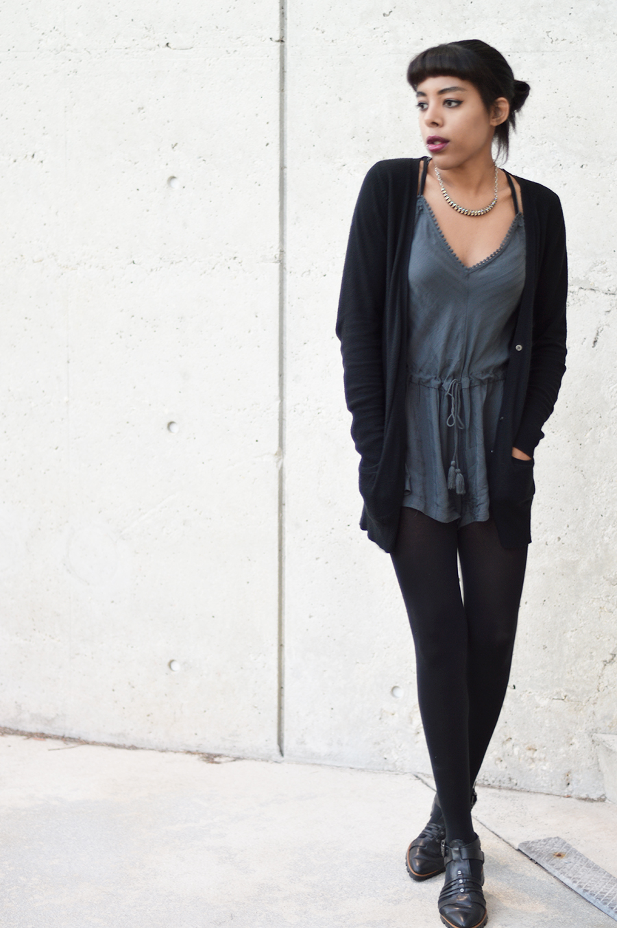 Minimalist Indie Fashion Blogger Anais Alexandre of Down to Stars in a silk storm grey romper from Urban Outfitters and Luxury Rebel Boots