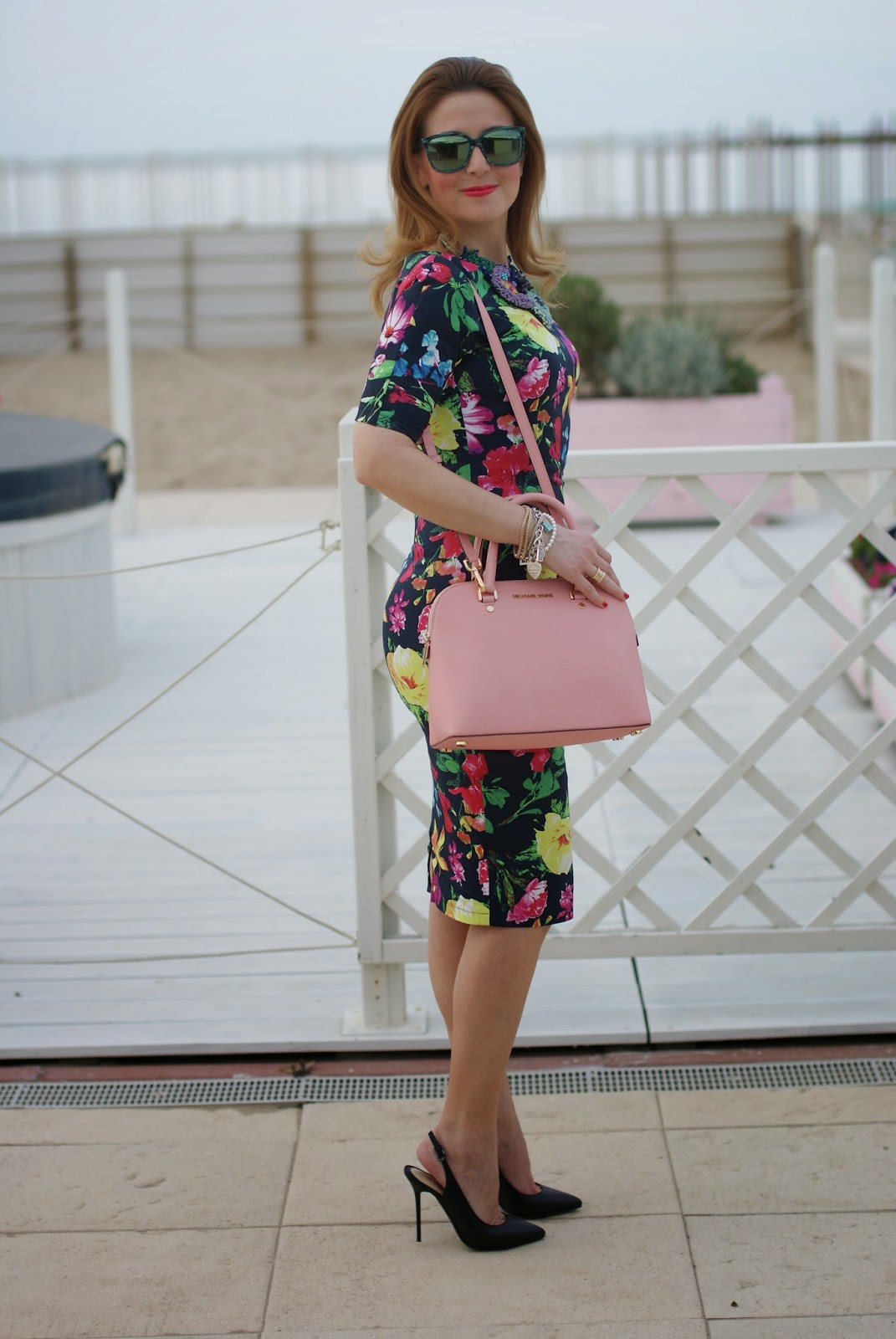 Ax Paris floral midi dress, bodycon floral dress, Michael Kors Cindy pink bag, HypeGlass sunglasses on Fashion and Cookies fashion blog, fashion blogger style