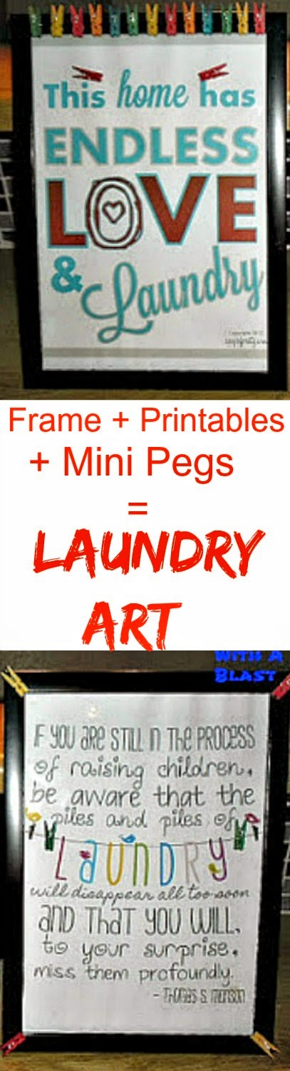Laundry Art ~ Plain Frame + Free Printables {links incl.} + Mini Art Pegs = colorful Laundry Art #Laundry #Printables