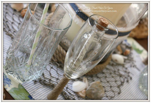 Message In A Bottle Wine Glass-Nautical Dining Room- From My Front Porch To Yours