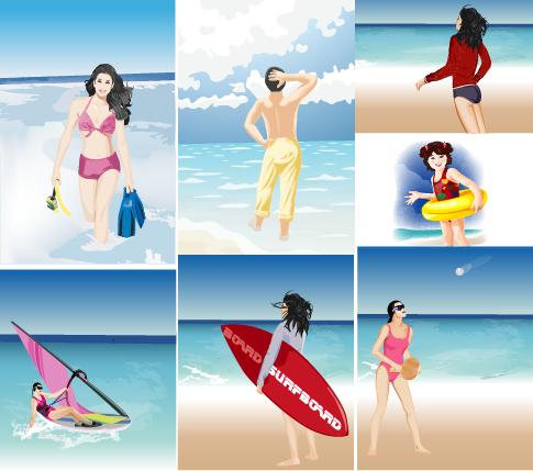 verano y playa escenas - vector