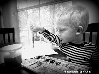 Water lesson plan for toddlers, using water color paints to explore art