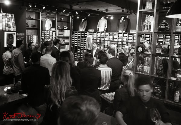 Crowd watches as Justin announces the winner of the Ganton Man competition at Shirt Bar Sydney - Photography by Kent Johnson.