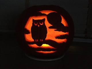 Little ms piggys halloween pumpkin carving for Spooky owl pumpkin stencil
