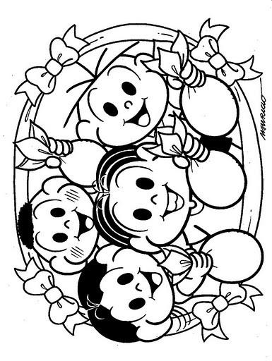 pintar os desenhos Feliz Páscoa da Turma da monica