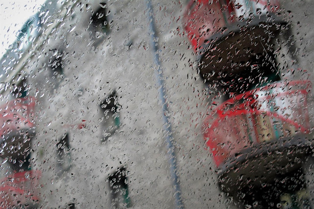 Galway city seen through the windows of a car in the falling rain