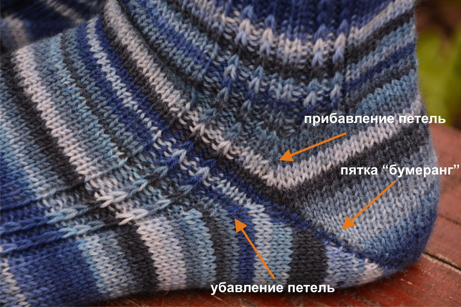 Носки спицами схемы пятка бумеранг