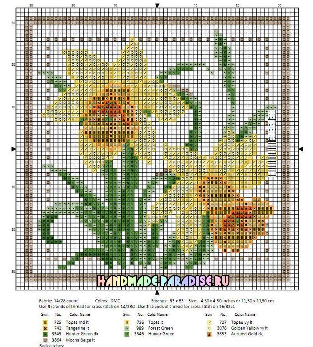 Миниатюрная вышивка цветов. Схемы