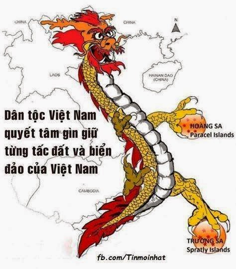 """All Vietnamese people are determined to preserve and protect every  single piece of our territory."" Notice that the dragon's claws are also  protective of Spratly Islands which are being claimed by many  countries in the region, including China.  Translation by Patrick Sharbaugh"