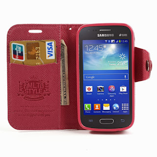 Leather Case Wallet with Stand and Card Slot Samsung Galaxy Ace 3 S7275 S7270 S7272 - Magenta