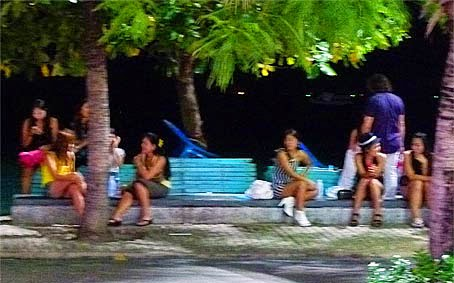 Beach Road at night with girls and ladyboys