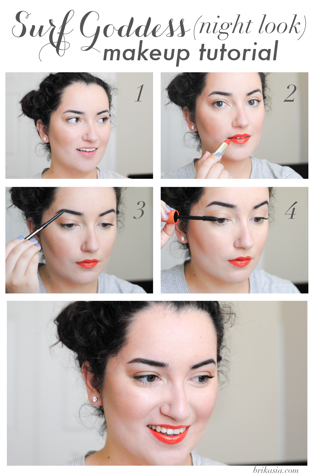 beach makeup tutorial, what makeup to wear to the beach, day to night summer makeup look, orange lipstick, bronzer