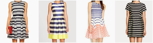 One of these navy striped dresses is by Red Valentino for $895 and the other three are under $100. Can you guess the designer dress? Click the links below to see if you are correct!