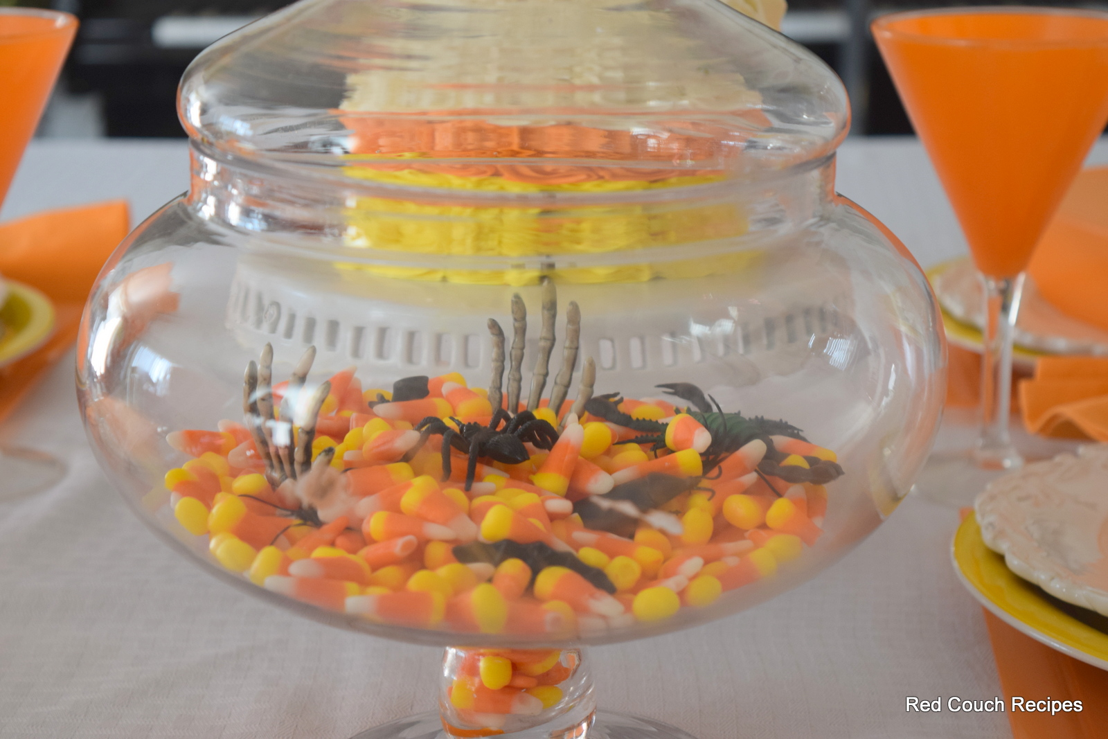 Red couch recipes candy corn halloween tablescape