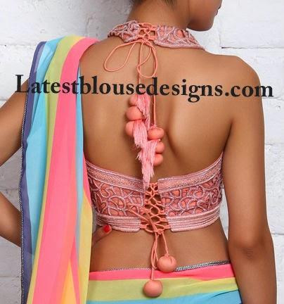 halter neck tie back blouse