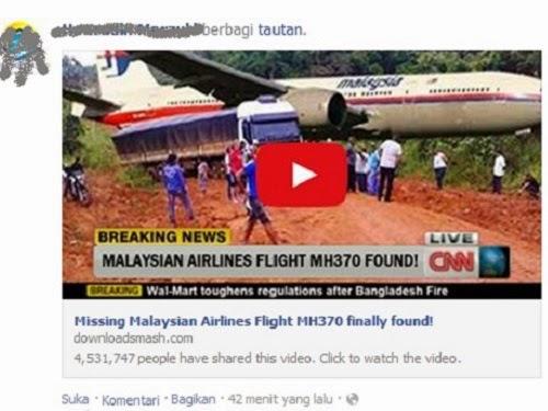 """Awas Malware! Jangan Klik """"Video Pesawat Malaysia Airlines MH370 Telah Ditemukan"""""""