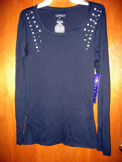 black studded long sleeve shirt