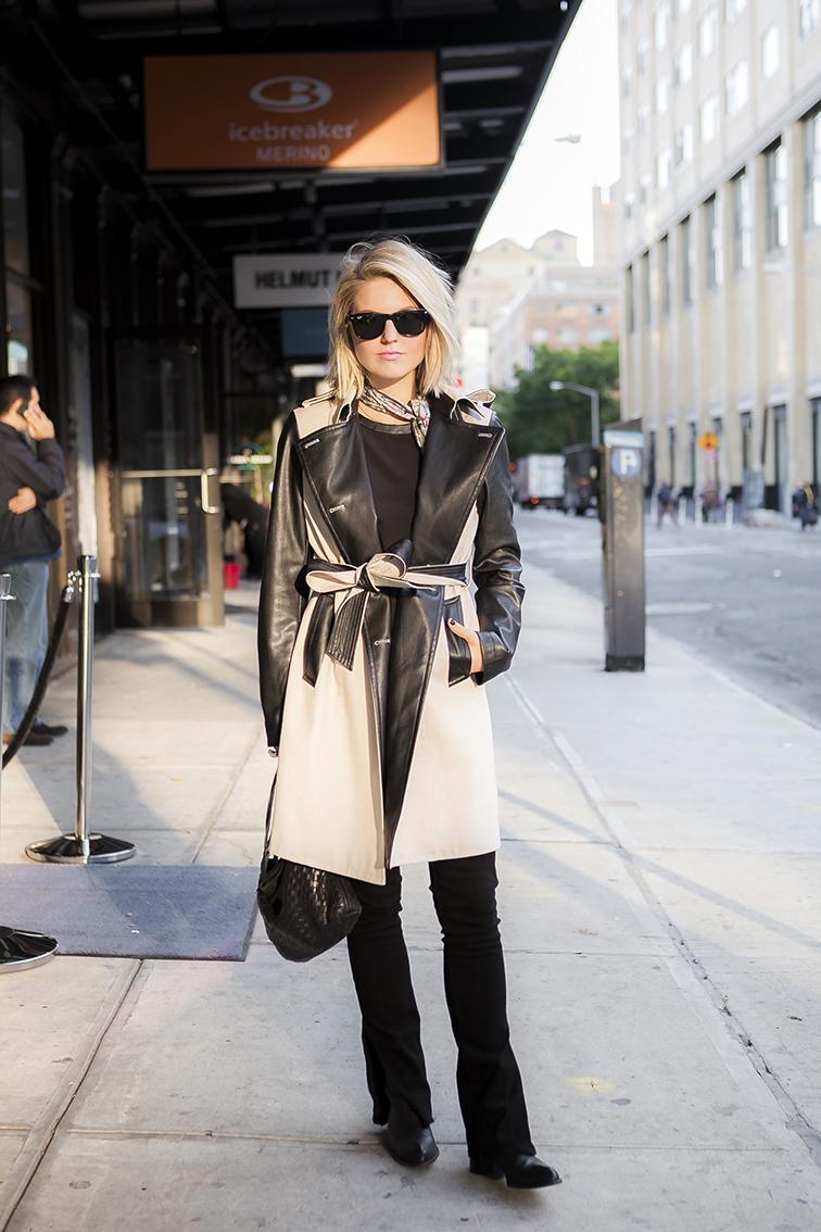 Fashion Over Reason wearing Ann Taylor leather trench, J Brand jeans, Alexander Wang Anouk boots, Bottega Veneta intrecciato crossbody bag, Ray-Ban Wayfers, Meatpacking District, New York City