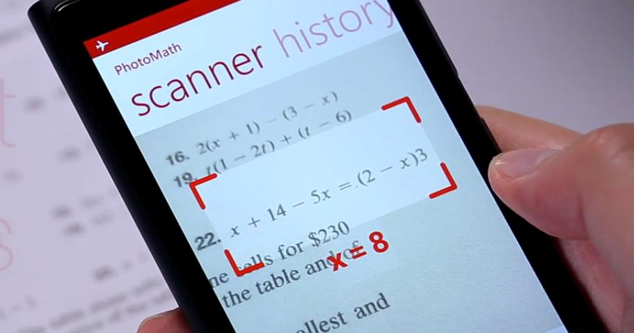 PhotoMath smartphone