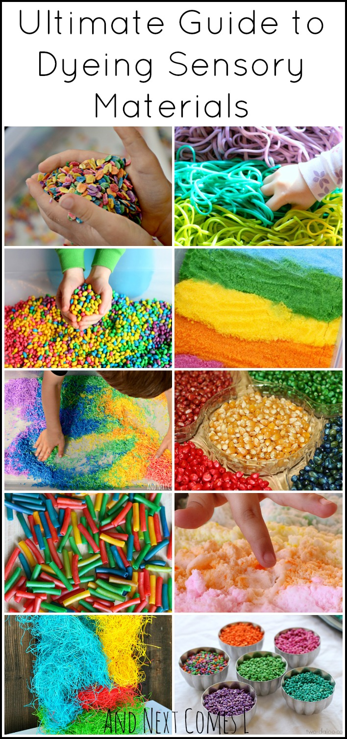 How to dye sensory bin fillers from And Next Comes L